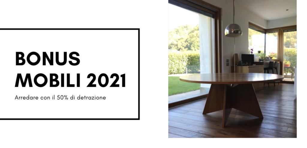 tavolo con base di design e scritta bonus mobili 2021.